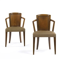 pair of armchairs, model mf 275 by pierre chareau