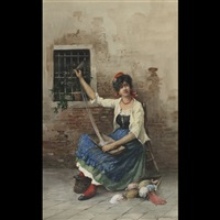 woman spinning yarn by eugenio benvenuti