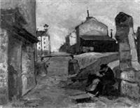 strassenszene in montmartre by fernand andrey-prevost