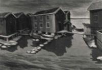 landskap med sjöbodar iv by gunnar loberg