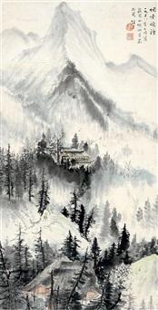 烟寺晚钟 立轴 纸本 by li xiongcai