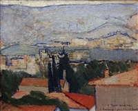 greek landscape depicting hymettus in background and naftiko nosokmio naval hospital in foreground) painted from lycabettus, athens by claude rogers