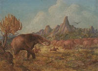 elephant hunting near mangwe river, matabililand by john thomas baines