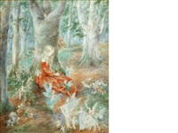 woodland scene with fairies by daphne constance allen