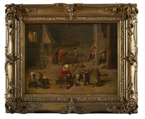 the interior of a blacksmiths by david teniers the elder