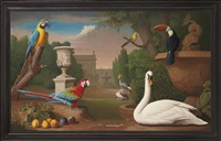macaws, a toucan and other birds in the grounds of a country house by nicholas pace