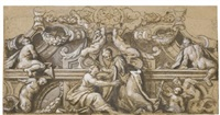 design for the decoration of a cornice, with allegorical figures holding a harp and a trumpet, centaurs and other figures by giovanni lanfranco