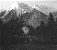 the niesen and the little church at einigen on the shore of the lake of thun by vivian milner akers