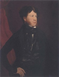 portrait of michael kelly in a black jacket, waistcoat and cravat by george francis mulvany