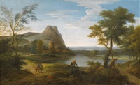 figuren in einer flusslandschaft by gaspard dughet
