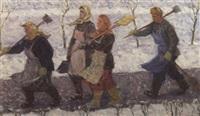 hauswarte gehen schnee schaufeln by s. b. kaschalskij
