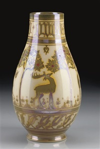 vase decorated by gordon forsyth by pilkington