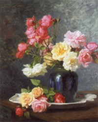 still life of roses by louis marie lemaire