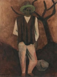 man in a green hat by rufino tamayo