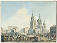 sennaia square, st. petersburg by alexandr pavlovich bryullov
