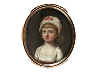a portrait miniature of the hon. juliana dawson, wearing white dress with pink sash to her waist, her white bonnet finished with matching pink ribbon by henry spicer