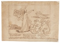 three drawings from dante's divine comedy: dante and virgil entering the dark wood (canto 1 by john flaxman