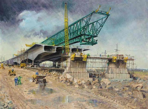 bridge under construction by terence cuneo