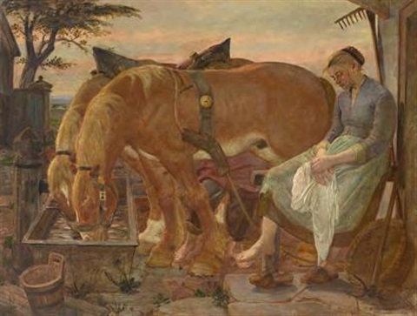 Feierabend an der Pferdetränke by Oskar Martin-Amorbach on artnet