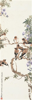 birds on the branch by deng fen