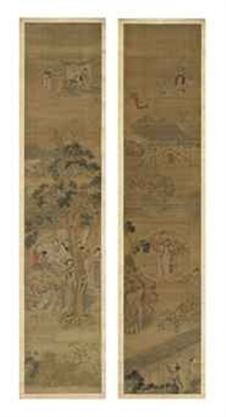 ladies gathered at various leisurely pursuits and ladies gathered around a table beside a large pine tree within a courtyard pair by anonymous chinese 19
