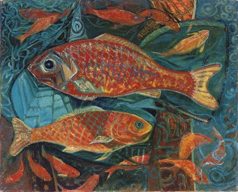 giant carp six goldfish 2 works by anne e christopherson