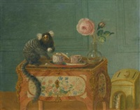 a marmoset taking sweets on a painted commode by louis tessier