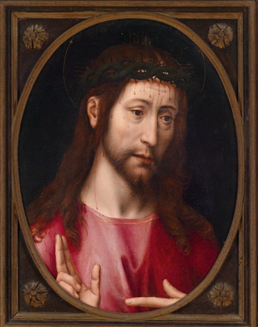 segnender christus trigramm verso by hans memling