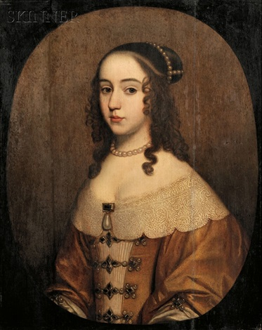 portrait of a young woman adorned with pearls by french school 17