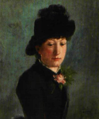 femme de trois quarts au chapeau et à la rose by george arthur jacquin