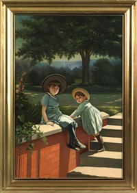 portrait of two children with washington monument in background by louis p. spinner