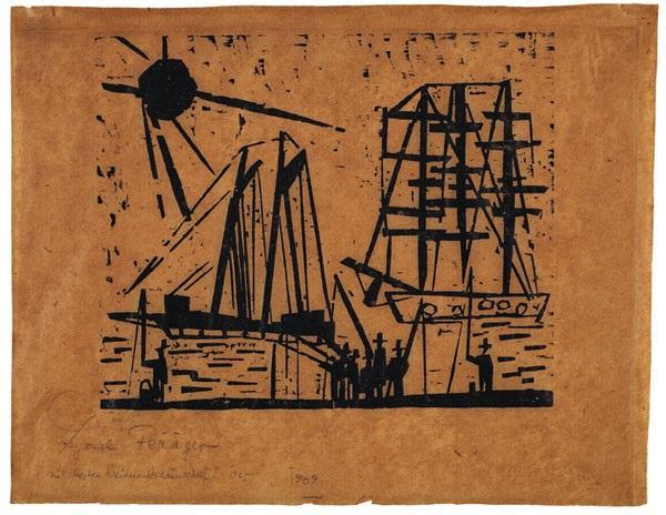 angler mit sonne und schiffen by lyonel feininger