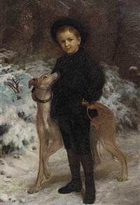en dreng med en hund. portrætgruppe af fru gyldendals søn i vinterlige omgivelser by henrik benedikt olrik