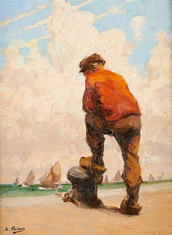 pêcheurs scrutant la mer by kurt peiser