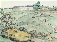 cottage on the common (overday farm) by robert polhill bevan