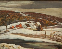 winter landscape - gates mill by george g. adomeit