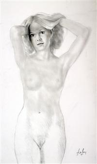 jeune femme nue aux mains dans les by aslan