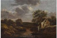 flusslandschaft mit fischerboot by jan van kessel