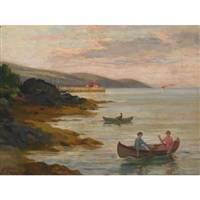 lake scene with boaters by joseph-charles franchere