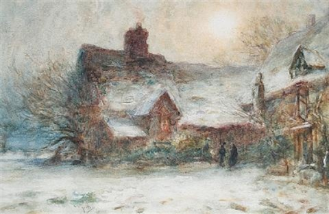 a country cottage a mountain village in italy pair by thomas william morley