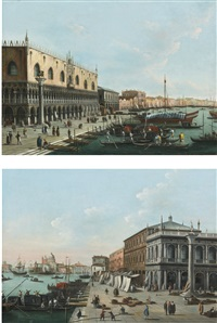 venice, a view of the riva degli schiavoni looking east and venice, a view of the molo looking west (pair) by giuseppe bernardino bison