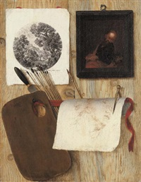 a trompe-l'oeil: a palette with a spatula and paint brushes, an engraving, an oil painting, and a drawing with a pen and compass on a wooden partition by jean-françois de le motte
