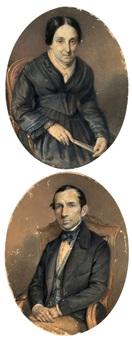 ritratto di signora con ventaglio; ritratto di gentiluomo seduto (2 works) by giosuè bianchi
