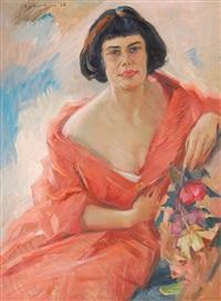 portait einer jungen frau mit rosen by alexij assaulenko