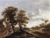 landskap med ryttare och figurer by hermann naiwincx