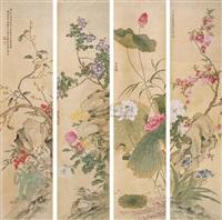 花卉 (in 4 parts) by liu chengde