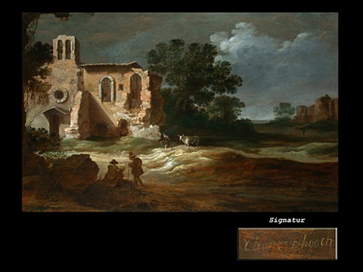 landschaft mit ruine und figurenstaffage by charles cornelisz de hooch