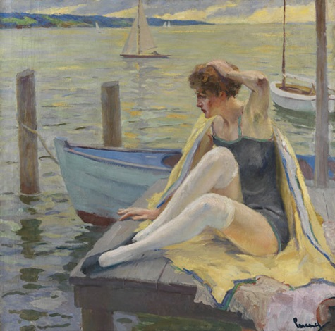 dame am steg by edward cucuel