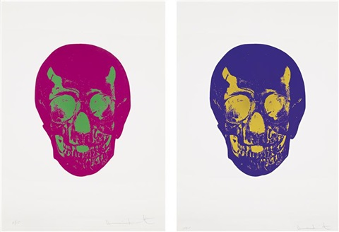 fuchsia pink lime green skull imperial purple oriental gold skull from the dead portfolio 2 works by damien hirst
