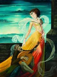 affe mit mandoline und mädchen by christian goller